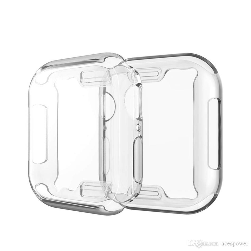 Para iWatch 5 4 Caso 40mm 44mm 38mm 42mm Clear Soft TPU Série Série 1 2 3 Protetor de tela para Apple Watch 4