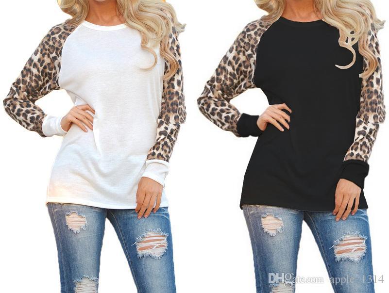 0d0c9578201c3 Designer T Shirt Femme 2018 Fashion Women Leopard T-shirts Spring Loose  Cotton Patchwork Long Sleeve Tshirt Casual Tops Tee Shirt Femme Designer T  Shirt ...