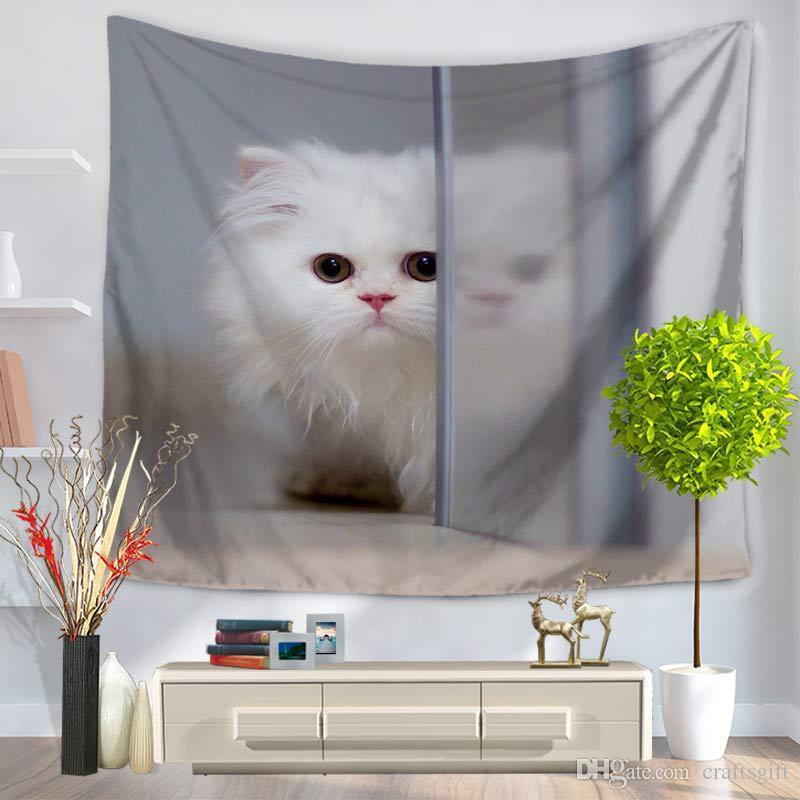 150 cm * 130 cm bianco Animali domestici Cats Tapestri Poliestere Tappeto Parete Soggiorno Popolari Strato Decorazione Home Decor Wall Hanging Tapestry Asciugamano da spiaggia