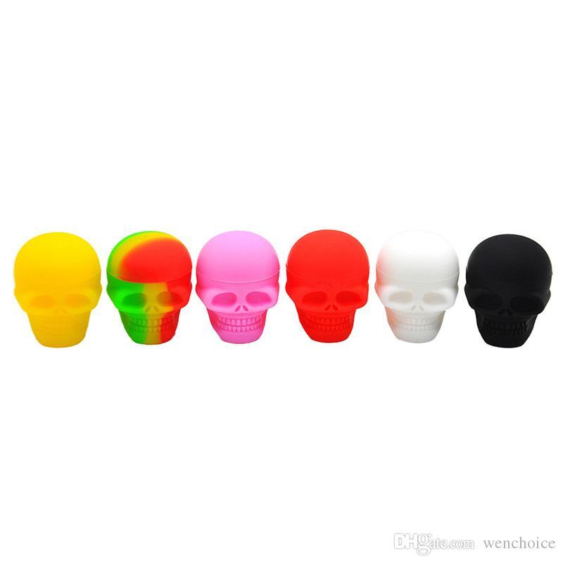 Commercio all'ingrosso libero di viaggio portatile di viaggio della scatola della pillola di forma del cranio della cassa della pillola del silicone di KKDUCK mini