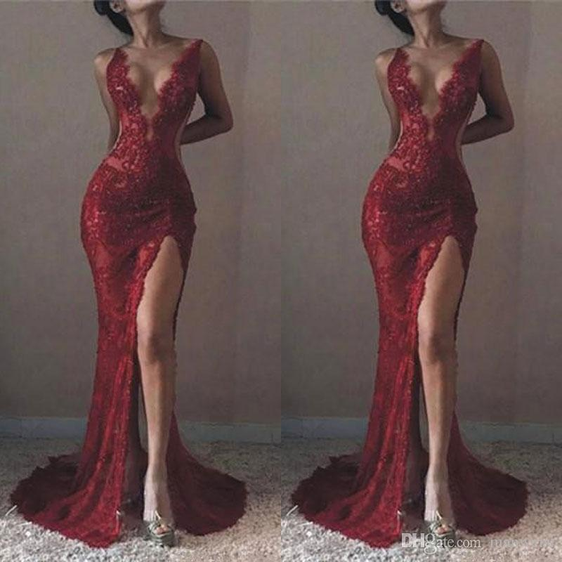 097ed92296824 2018 Michael Costello Mermaid Lace Sexy Prom Dresses Plunging V Neck High  Front Split Evening Gowns Formal Celebrity Dresses