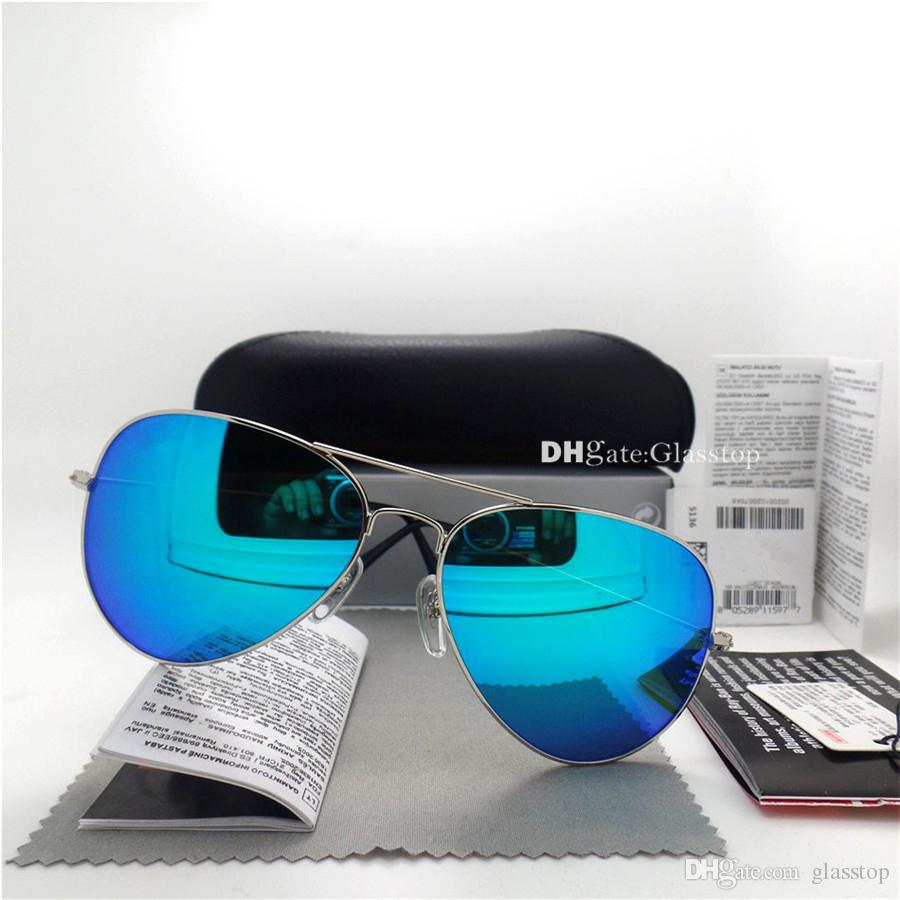 Üst Kalite Cam Lens Pilot Vintage Gözlük Erkekler Kadınlar Güneş gözlüğü UV400 Marka Tasarım 58mm 62mm Unisex Ayna Güneş Gözlükleri Daha İyi Kılıf Sticker