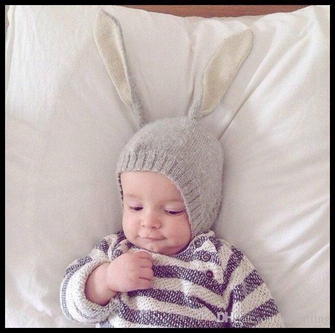 Wholesale Fashion Baby Hats Rabbit Ear Crochet Hat Winter Newborn Children Knitted Cap pink gray black Beannie Hat Photography Props A041