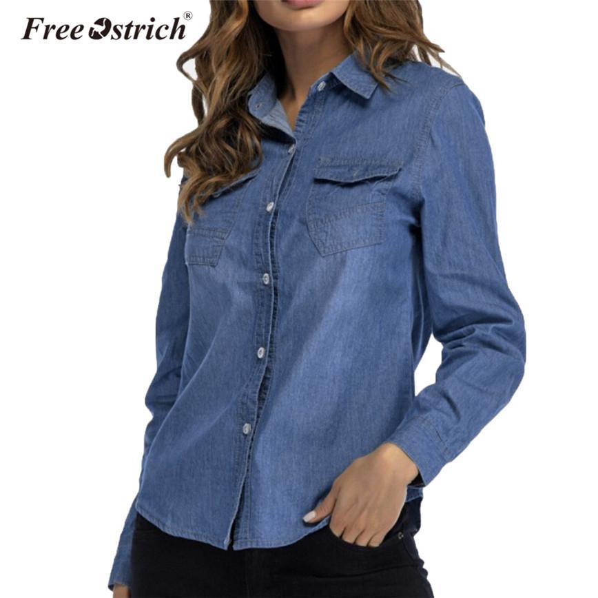c6a6d01dd1 Compre Livre Avestruz Azul Escuro Camisa Jeans Mulheres Manga Longa Botões  Bolsos Casuais Mulheres Tops Turn Down Collar Camisa Feminina D35 De  Michalle