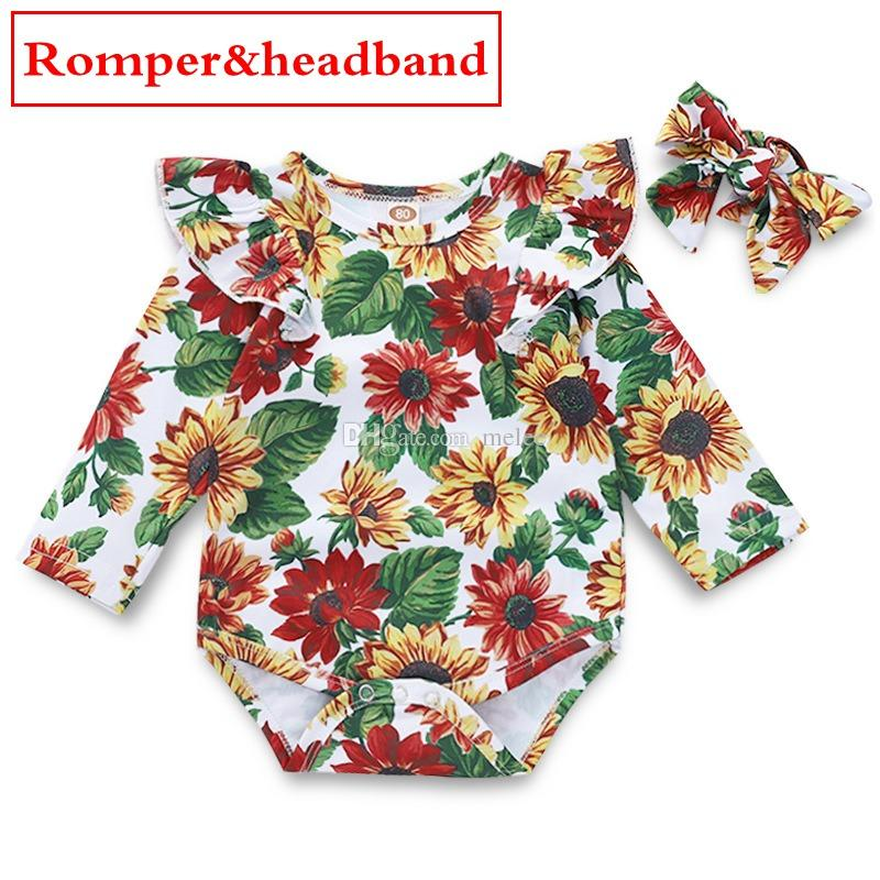 ec7d0e42a158f INS Sunflower full print Baby Girls Fly Sleeves Jumpsuits with headband  Kids Sun flower rompers Infant Toddler Girls white Bodysuits 0-2Y