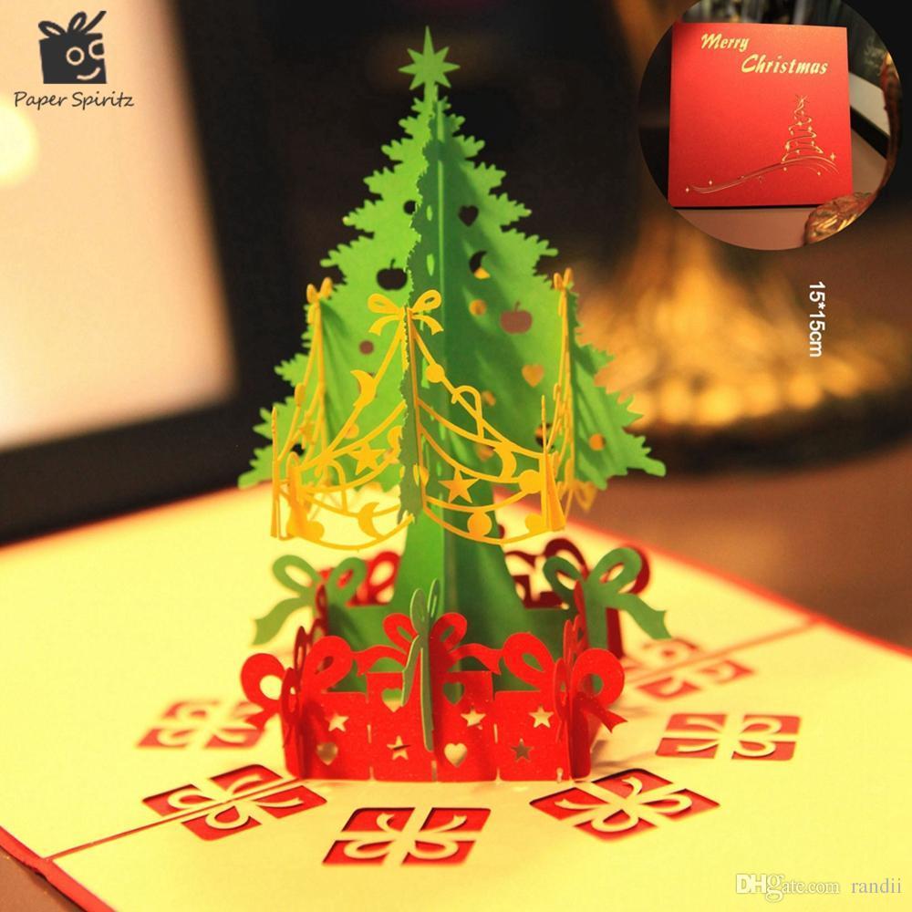 Wholesale Merry Christmas Tree Vintage 3d Laser Cut Pop Up Paper