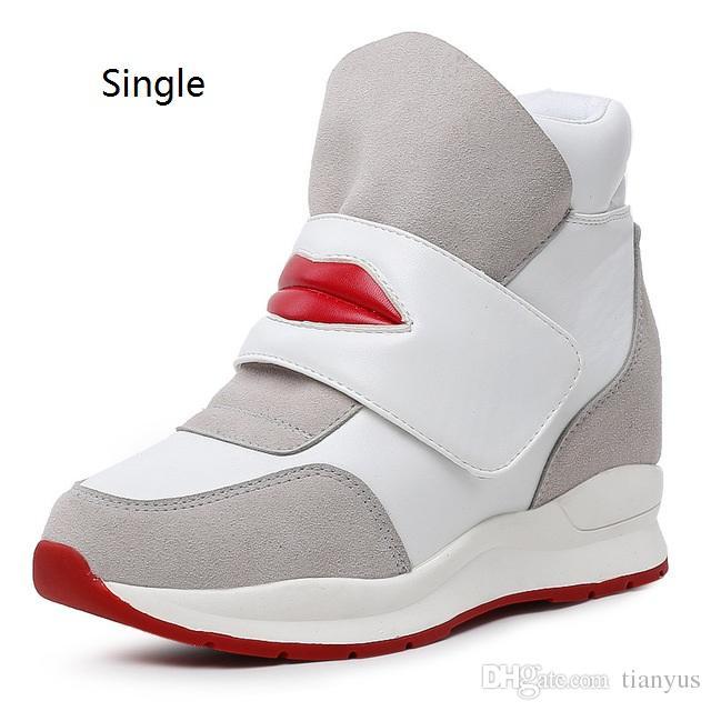 5a5d49095 Compre Zapatillas De Deporte De Moda Botas De Mujer Zapatos De Cuña Cuero  Genuino Aumento De Altura 8 Cm Botines Zapatos De Mujer Zapatos Casuales L  103 A ...
