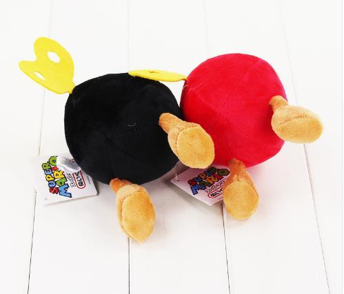 14CM Super Mario Bros Bomb stuffed toy black and red bomb soft plush doll cute bomb good gift for kids