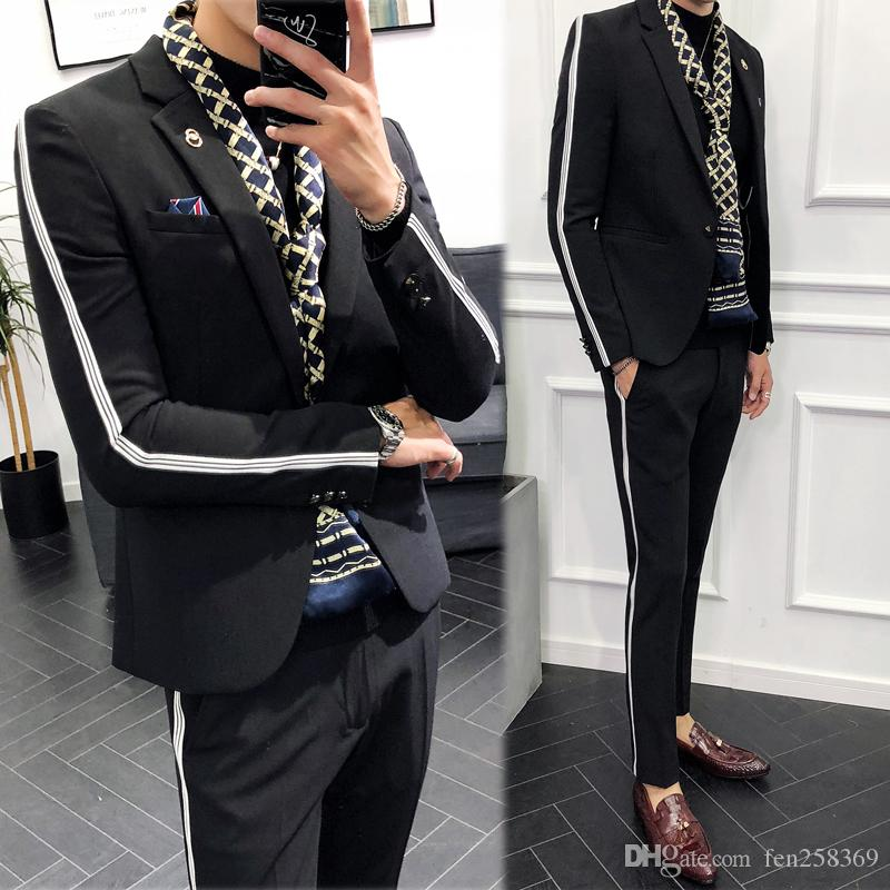 42a58605ea Compre Tops + Pantalones Casual Hombres Juventud Coreana Slim Tide Trajes  Para Hombres Mercado Nocturno Versión Coreana De La Marea Viento Británico  Hermosa ...