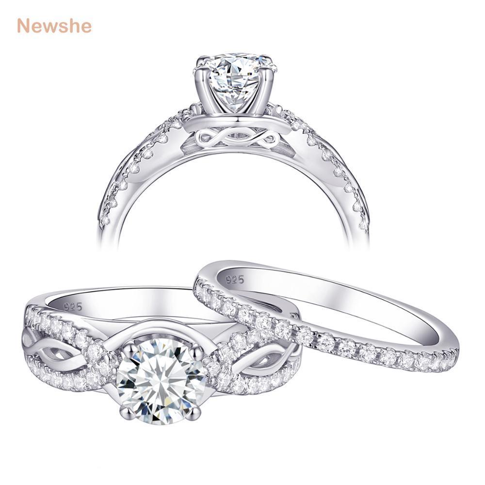 2018 Newshe 1 5 Ct Aaa Zirconia Solid 925 Sterling Silver Wedding