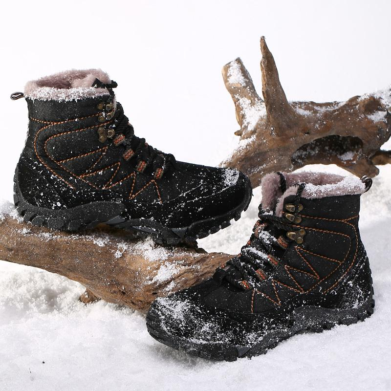 d3732afcb8f Mens Snow Boots Winter Waterproof Hiking Boot Men Warm Fur Lined Ankle  Booties Hunting Boot for Men