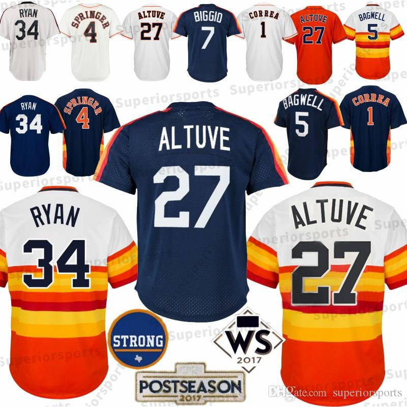 timeless design f0753 8ad4a Houston 27 Jose Altuve Astros 4 George Springer 1 Carlos Correa 5 7 Craig  Biggio 34 Nolan Ryan Baseball Jerseys 100% Stitched