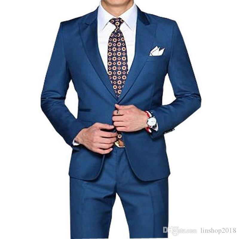 New Arrival Straight Blue Men Tuxedos Peaked Lapel Wedding Suit For Men Slim Fit For Wedding Men Suits Jacket+pants