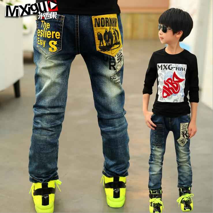 High quality spring kids pants girls baby boys jeans children letter jeans for boys casual denim pants 3-12Y toddler clothing