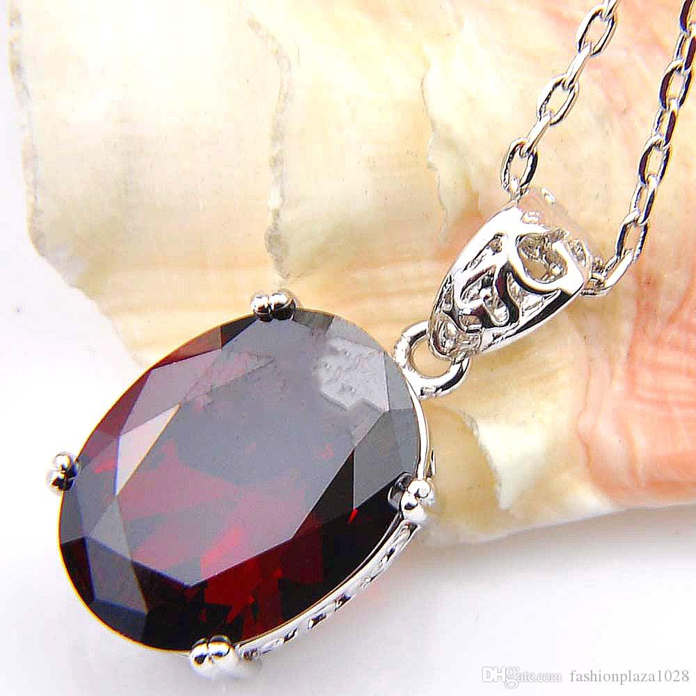 LuckyShine 925 Sterling Silver Pendant Necklaces Women's Easter Colares Ruby Jewelry Indian Garnet Gemstone Pendant Jewelry