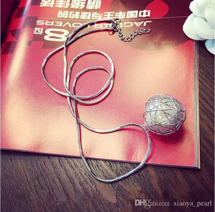 2018 collana Cage Pendant nuovo desiderio di amore perla naturale con il commercio all'ingrosso della collana della catena Silver Pearl Fashion Design Hollow Locket della clavicola