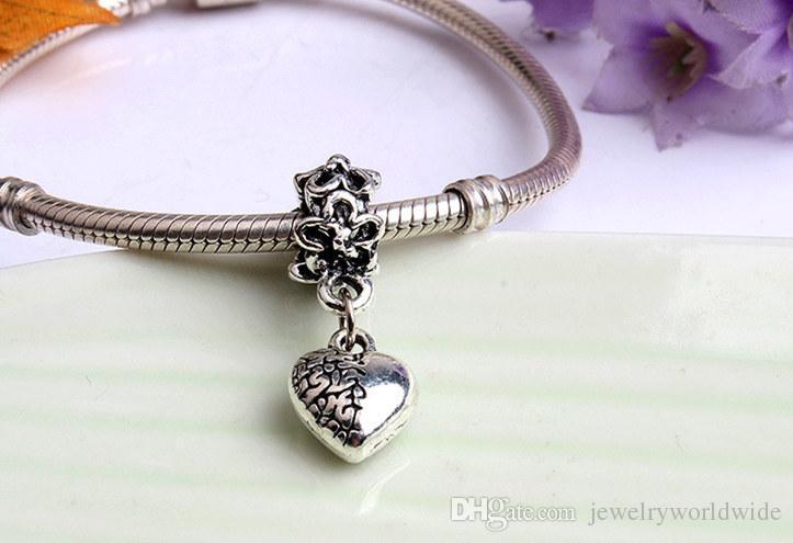 Precious Heart Dangle Pendant Alloy Charm Bead Fashion Women Jewelry Stunning European Style For Pandora Bracelet Necklace