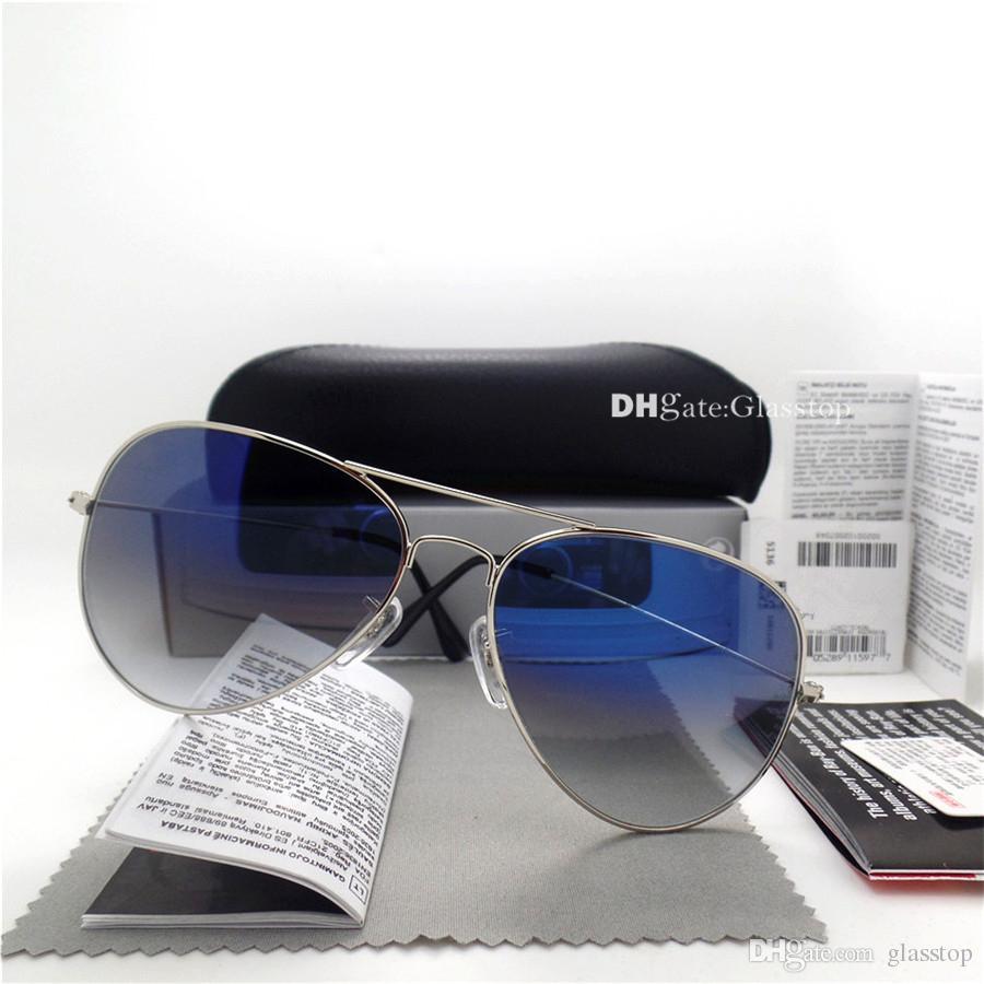 Top Quality Glass Lens Men Women Polit Fashion Sunglasses UV400 Protection Brand Designer Vintage Sport Plank Sun Glasses Case Box Sticker