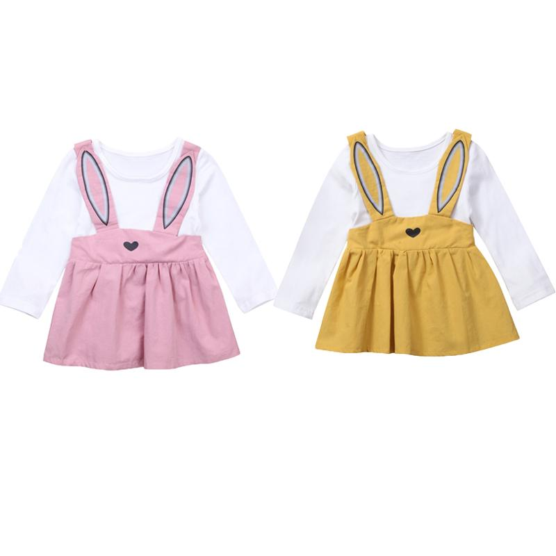 6faca28e44c3 Infant Kid Baby Girl Rabbit Party Dress Long Sleeve Overall Tutu ...