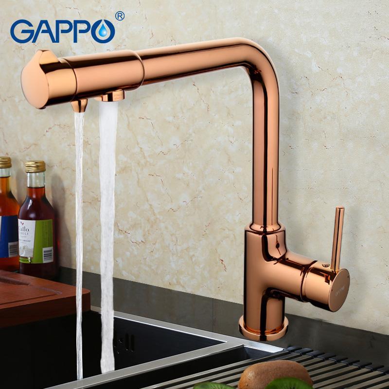 2019 Gappo 2017 Brass Kitchen Faucet Mixer Rose Gold Kitchen Sink