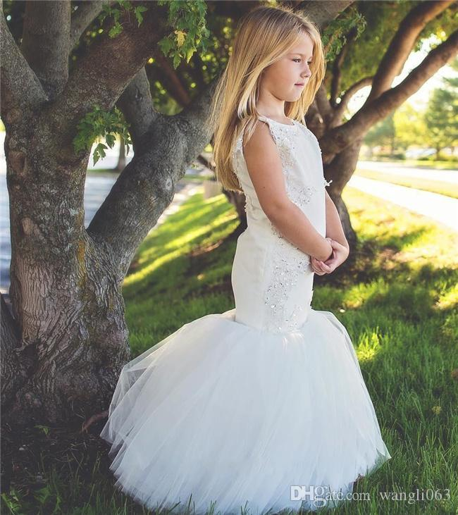 Mermaid Flower Girls Dresses With Lace Appliques Beads Sequins Satin And Tulle Girls Pageant Dress Long First Communion Dress