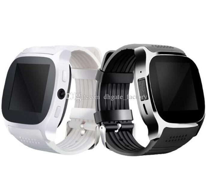 Für Android Neue T8 Bluetooth Smart Pedometer Uhren Unterstützung SIM TF Karte Mit Kamera Sync Anruf Nachricht Männer Frauen Smartwatch Uhr Freies Schiff