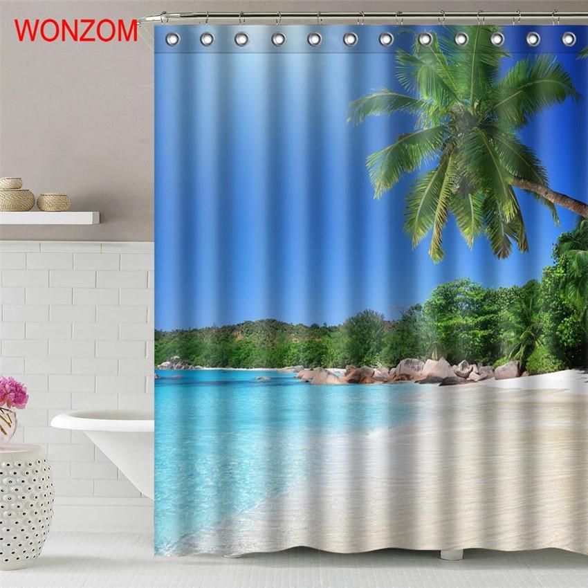 2018 Wonzom Wave Beach Waterproof Shower Curtain Serenity Bathroom Decor Landscape Decoration Cortina De Bano 2017 Bath Gift From Williem
