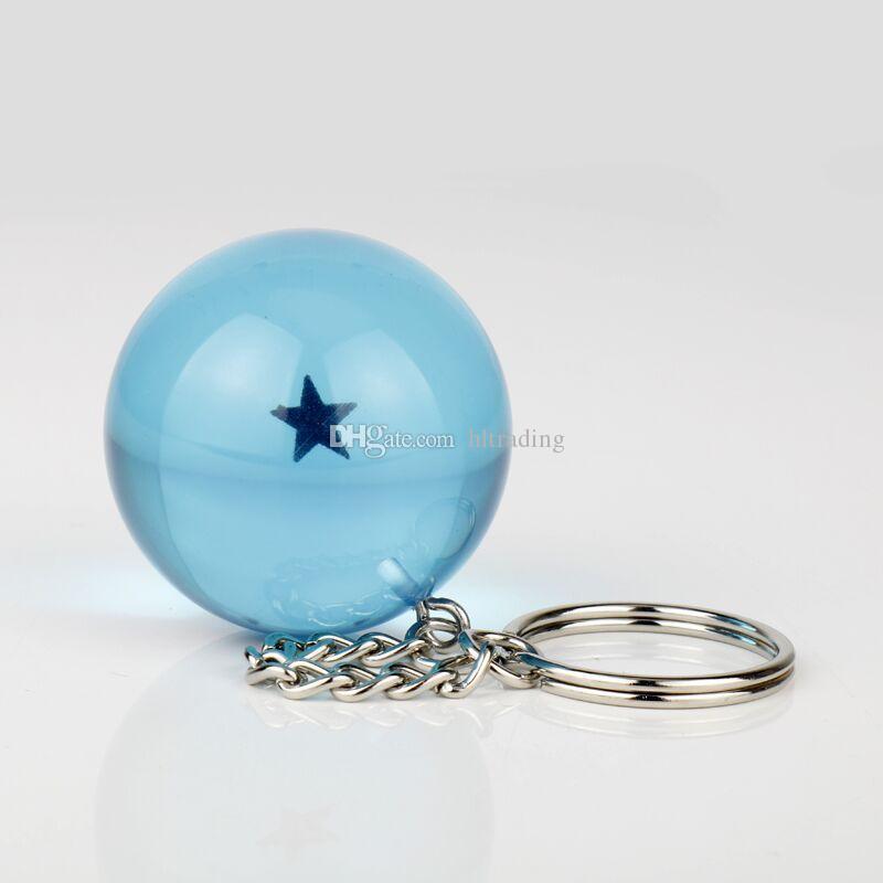 3.4cm Dragon Ball 7 Estrellas Crystal Balls resina azul Figuras juguetes llavero colgante 1 2 3 4 5 6 7 estrellas juguete C4128