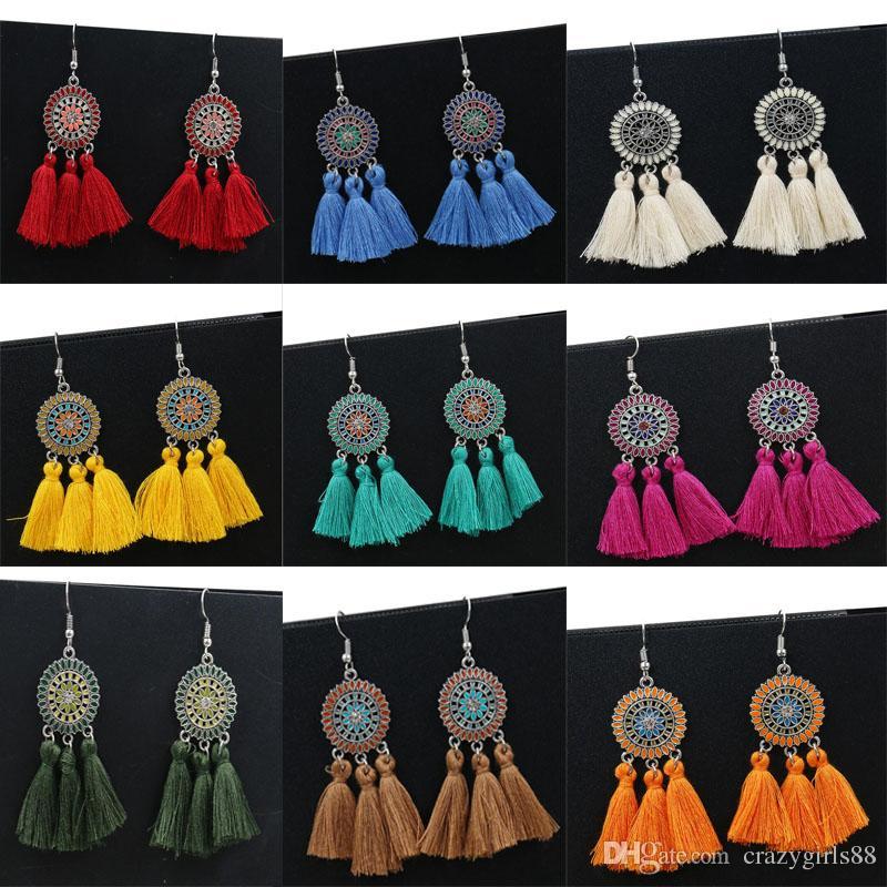 Fashion Femmes Vintage Rond Long Dangle Crochet Eardrop Fleur Boucles D/'oreilles Bijoux New