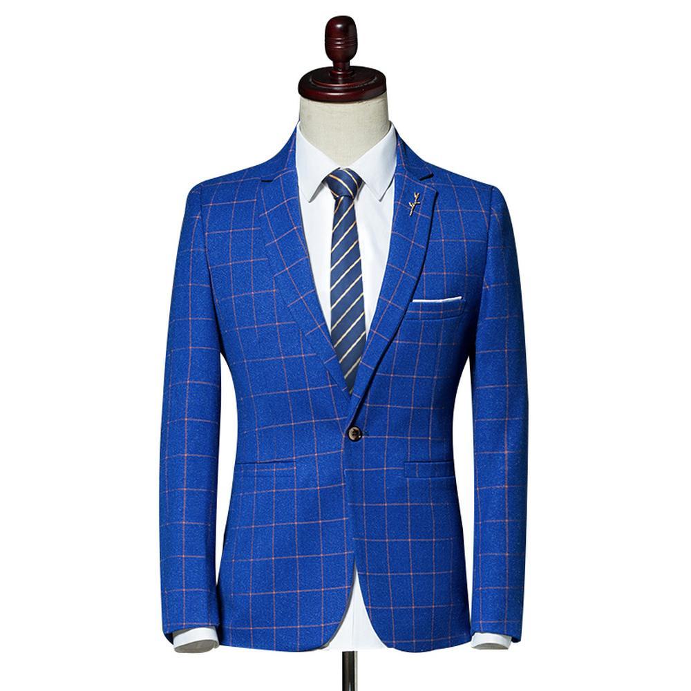 Acheter Plaid Leisure Blazer Hommes Slim Fit Simple Bouton Nice New Fashion  Business Casual Vêtements Blazer Vestes Costume De Bureau Manteau De  89.04  Du ... 7212a801bfc