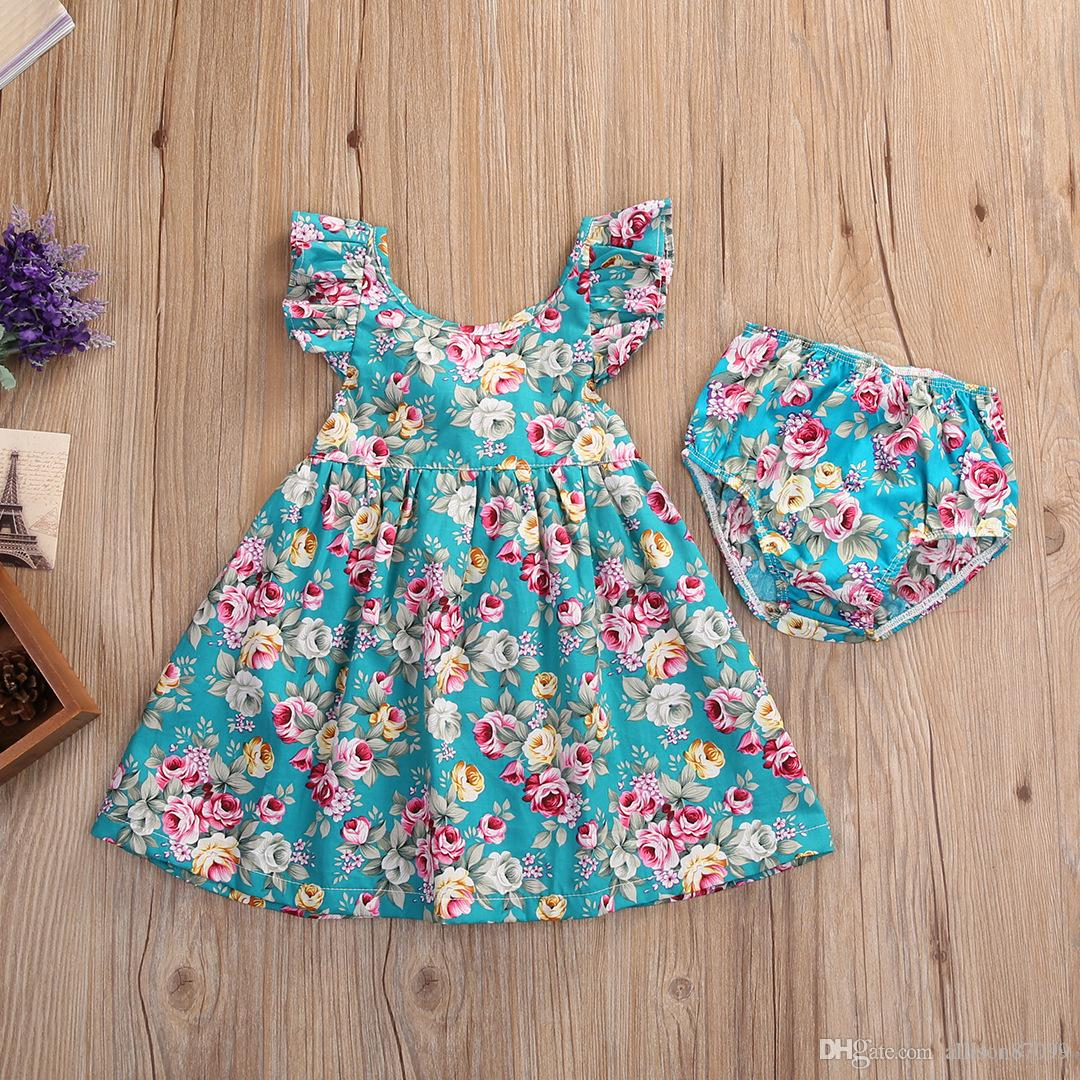 cbf1a756665 2019 2018 Summer Baby Girl Clothing Dresses With Shorts Sweet Vintage  Floral Print Dress Flutter Sleeve Back Cross Strap New Arrival 3M 4years  From ...