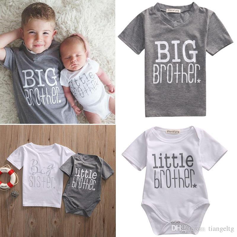 60989f9952 Roupas combinando família bebê crianças t-shirt macacão para menino menina  irmãozinho irmão mais velho irmã mais velha big brother algodão macacões do  bebê