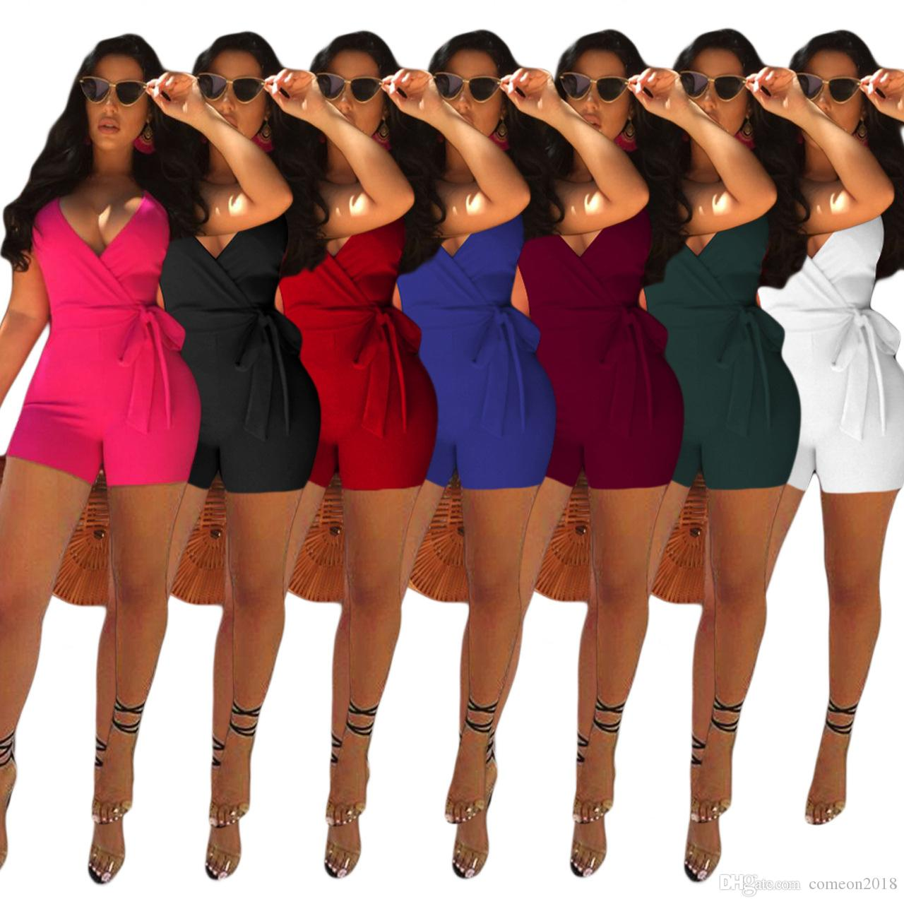 da3ed9b28db 2019 Women Clothes Strap V Neck Bodycon Romper Playsuits Solid Color  Sleeveless Jumpsuits Tracksuits Fashion Sexy Outfit Bandage Women Rompers  From ...