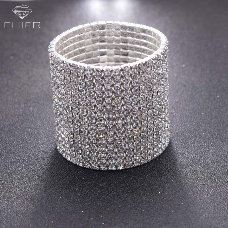 15rows Shiny Bracelet for Women Crystal Rhinestone Stretch Bracelet Bangle Wristband Elastic Wedding Bridal decorations silver