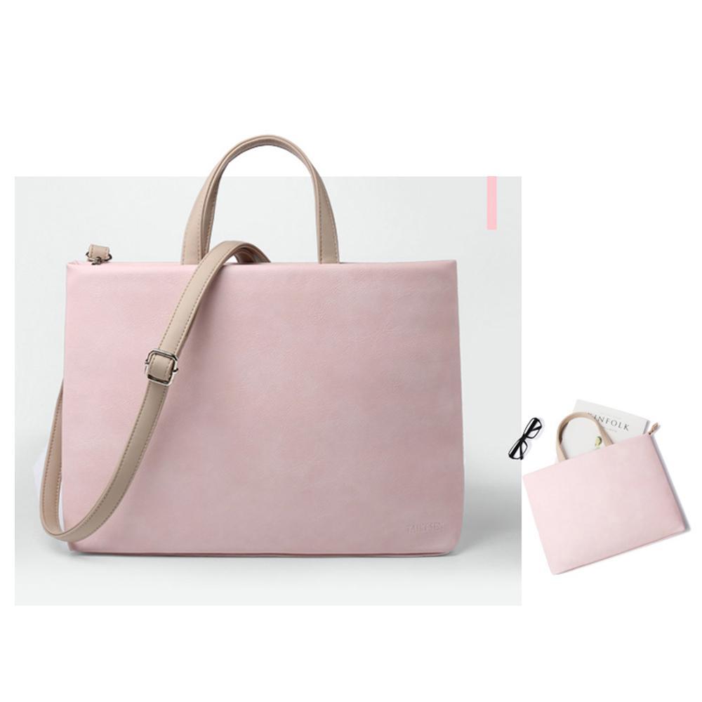 Soft Leather Women Laptop Messenger Bag 1