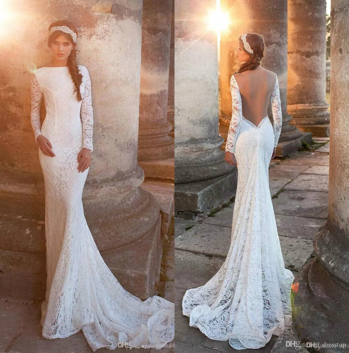 Romantic Sweetheart Beach Wedding Dress High Quality: 2019 Romantic Full Sleeves Lace Wedding Dresses Sexy Open