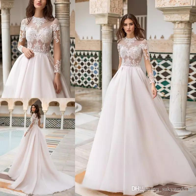 3d5c8518d8d Naviblue 2019 Dolly Long Sleeves Wedding Dresses Lace Appliqued ...