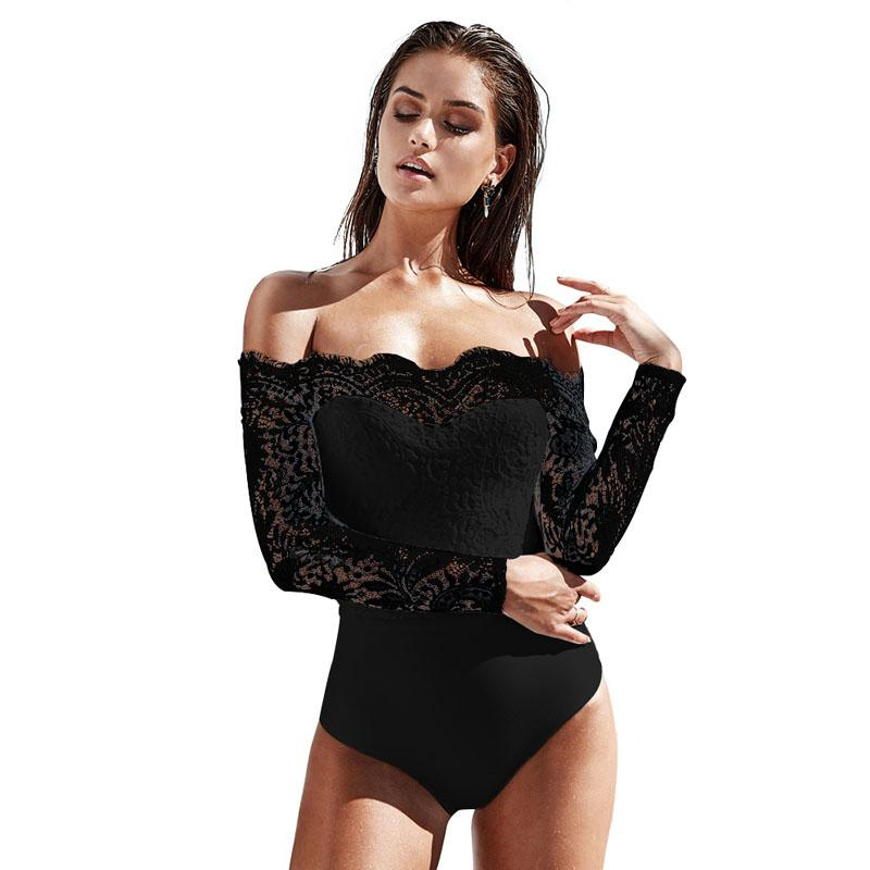 af39e5656ee Off Shoulder Lace Bodysuits Black Body Top Romper 2018 Women Jumpsuits Long  Sleeve Slim Sexy White Playsuit Cool Funny T Shirts On T Shirt From  Coustic