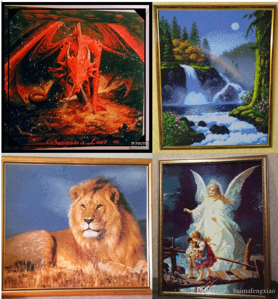 5D diy diamond painting cross stitch kit rhinestone full round&square diamond embroidery animal fire dragon home mosaic decor gift AA0173