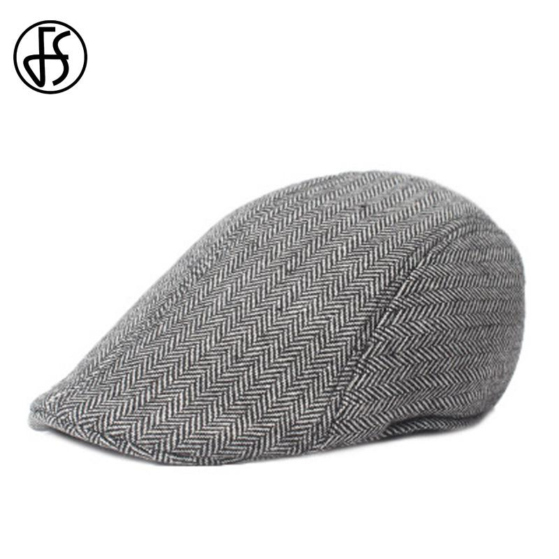 2019 FS 2017 Winter Cotton Beret Hats Unisex Fashion Gray Brown Striped  Cabbie Caps For Men Women Casquette Ivy Cap From Fotiaoqia bc83db3b8a5