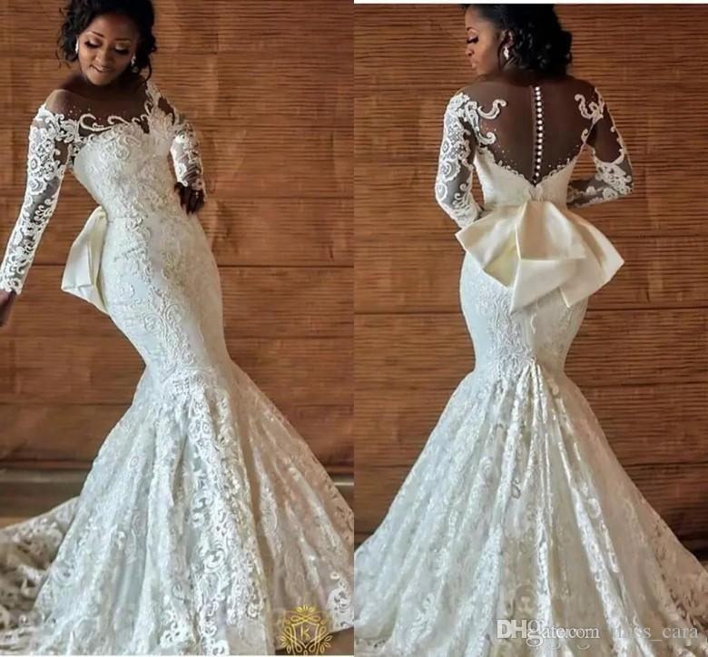 Nigerian Wedding Gowns: Sexy Nigerian Wedding Dresses Long Sleeves Back Bow