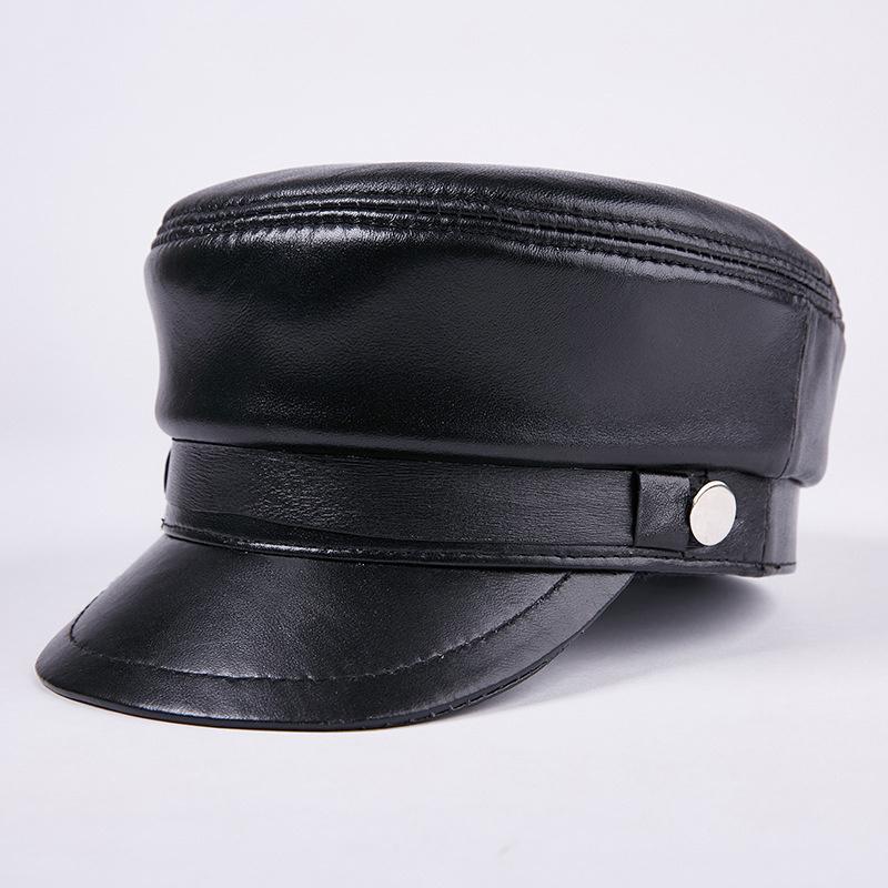6ae9f0b407873c Leather Students Hats Men and Women Models Military Hat Flat Top Hat  Sheepskin Caps Baseball Hats Outdoor Mens Tourist Cap Leisure Cap