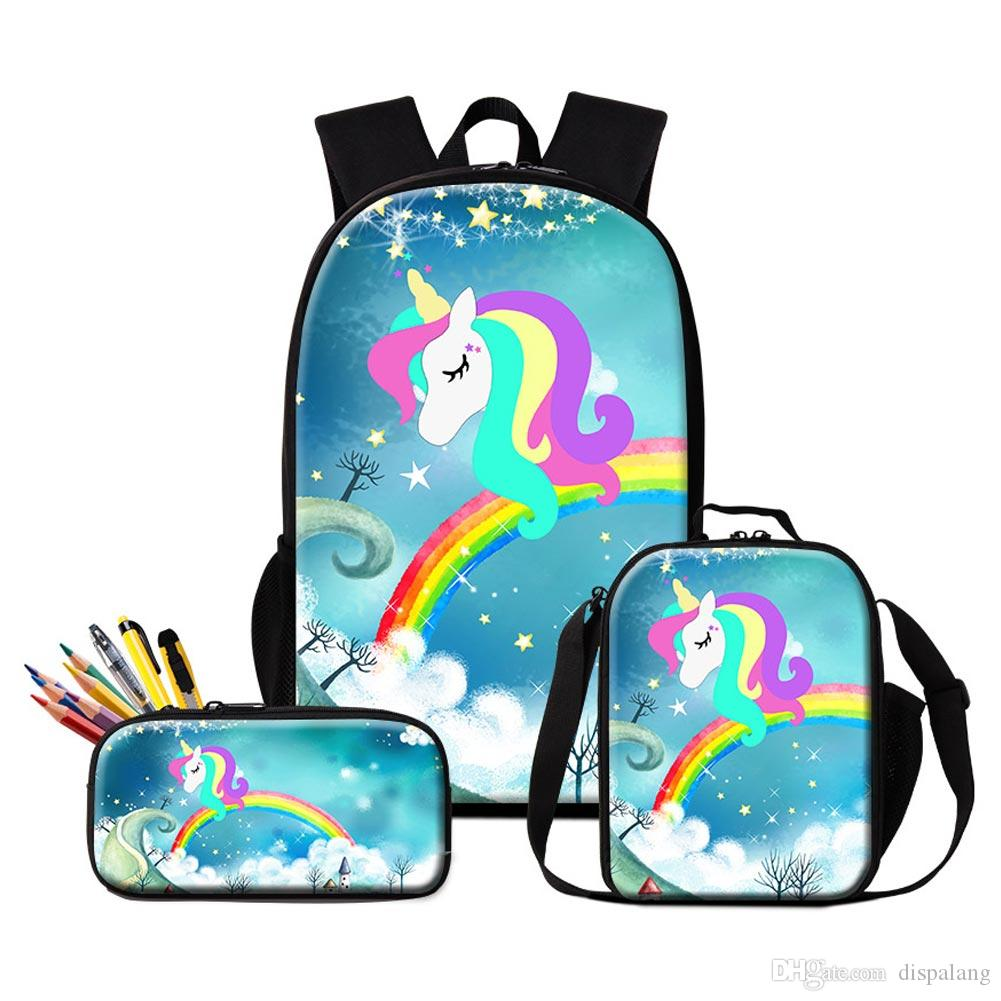 f757e3aa5094 Set School Backpack Pencil Bag Lunch Bags For School Cute Unicorn Printing  Schoolbag Pen Bags For Student Children S Bagpack Lunch Box College Bags  Ladies ...