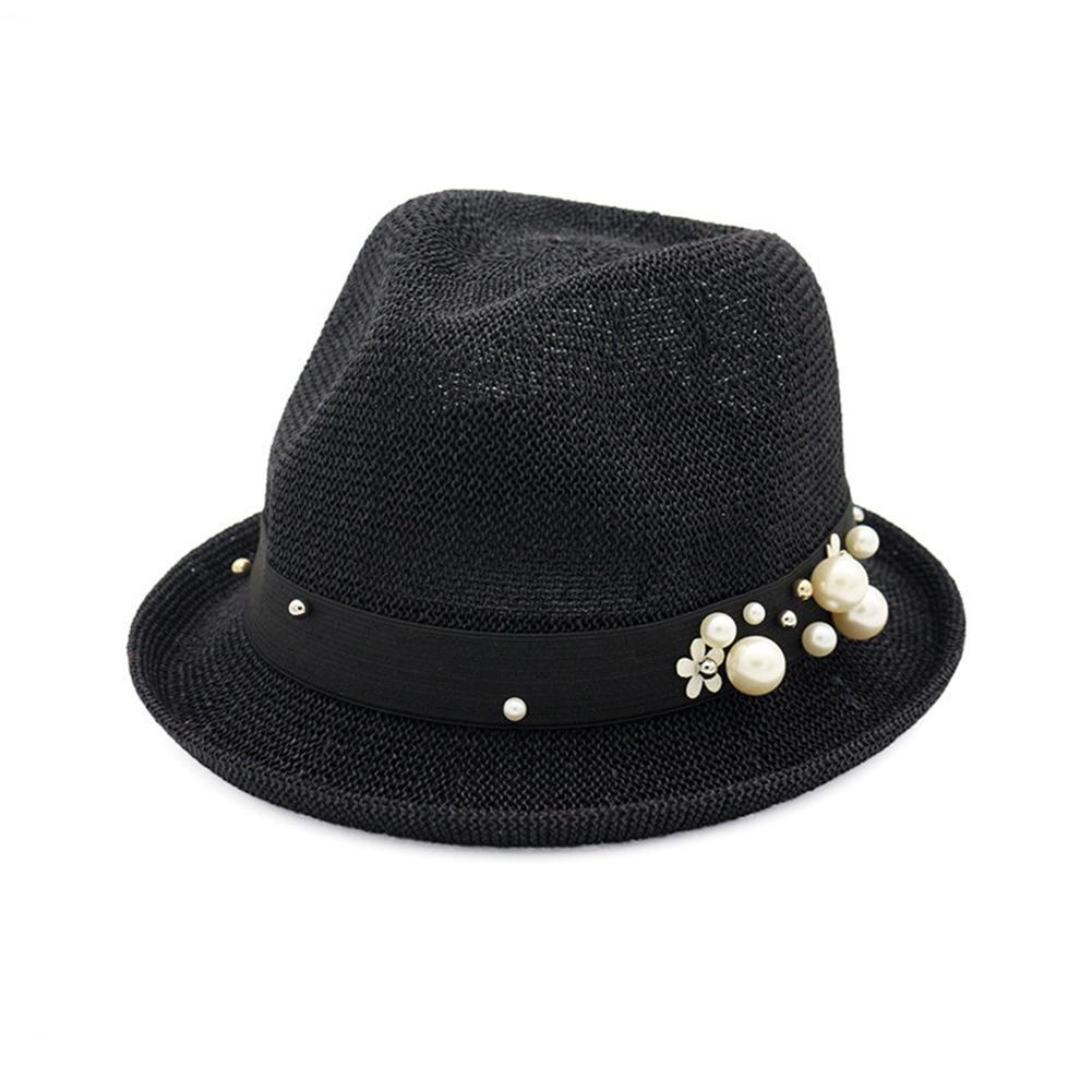 f5795c11b84a1 Mrwonder 2018 Women Flat Top Straw Sunshade Hat With Curled Edge Pearl Jazz  Cap For Beach Travel Gift Ornament Flat Brim Hats Mens Straw Hats From ...