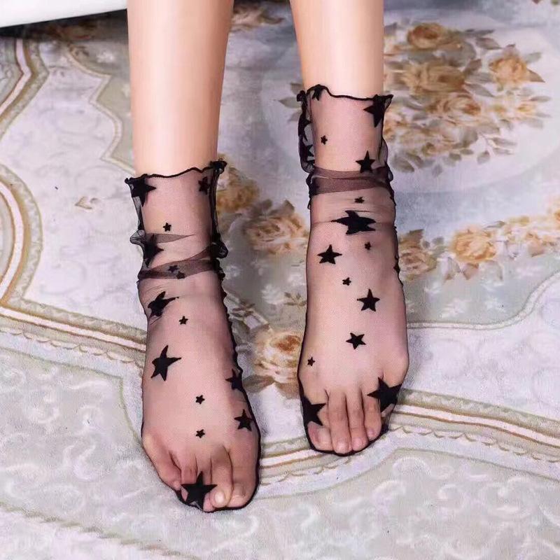 ffde29d62 2019 Woman Socks For Summer Sock Women Thin Soft Star Sheer Mesh Tulle Socks  Transparent Ultrathin Fishnet Visible Hosiery Sock From Firstcloth