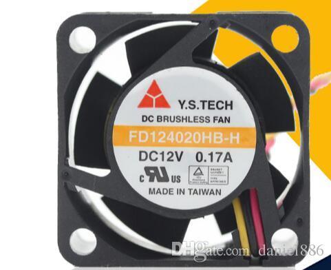 NOVO Original Y.S.TECH FD124020HB-H DC12V 0.17A 4020 40 * 40 * 20 MM 4 cm três fios ventilador de refrigeração