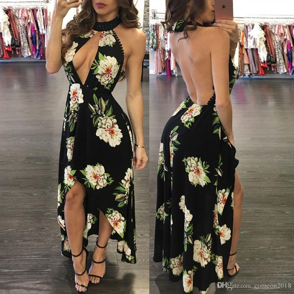Summer Bohemia Printed Beachwear Dreeses After short before long Casual Dress Cover Ups Long Woman Dress halter collar Hi-Lo Dress