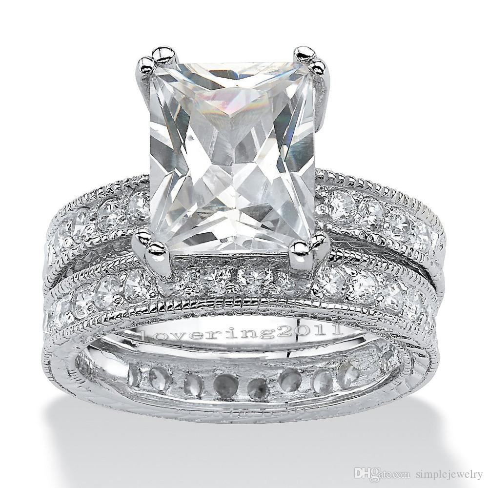 choucong Antique Princess cut 5ct Stone Diamond 14KT White Gold Filled Engagement Wedding Band Ring Set Sz 5-11
