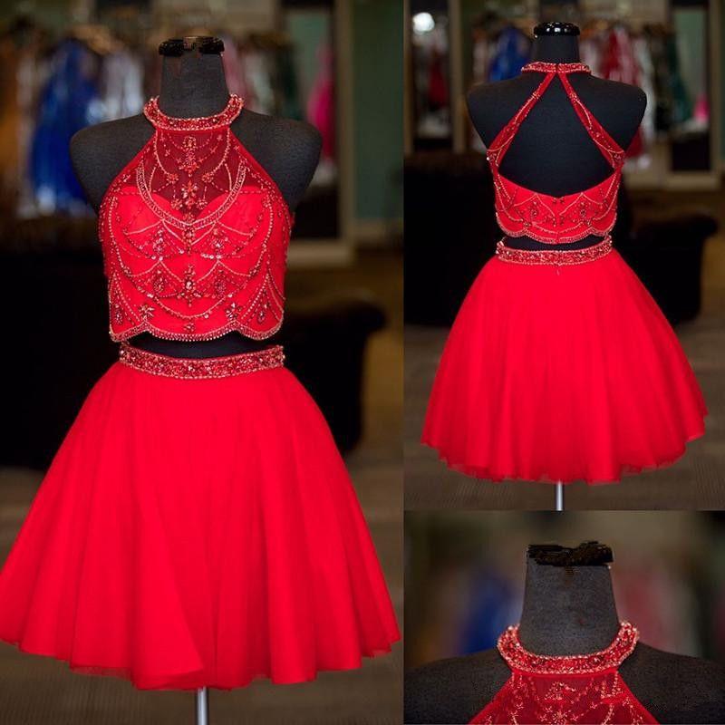 Vente chaude Bleu Rouge Courte Robes de Retour Halter Perles Backless Tulle 8ème Grade Graduation Robe de Cocktail Afrique Robe de Bal Pas Cher
