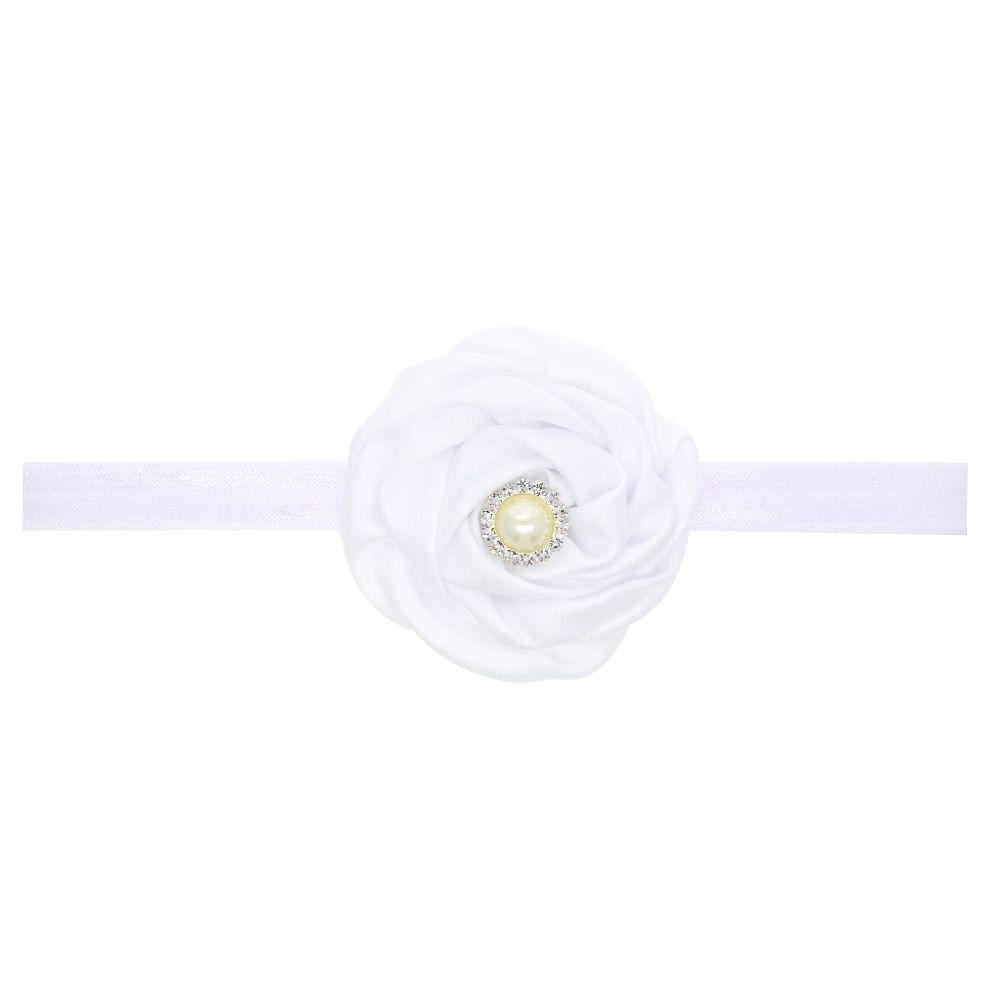 Baby Girls Flower Headband Satin Pearl Diamond Rose Flower Elastic Headband Baby Hair Accessories Headwear H116